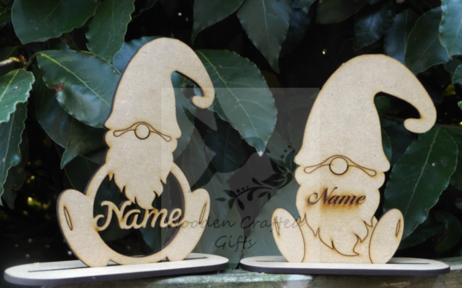Personalised Gnomes On Bases - Engraved Or Name Cut Out