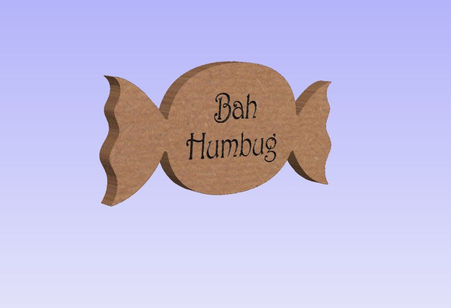 Freestanding Bah Humbug Engraved Sweet Shape