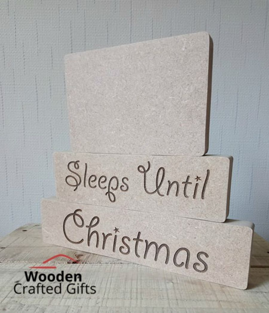 Freestanding - Sleeps Until Christmas - Blocks - 3 Pieces