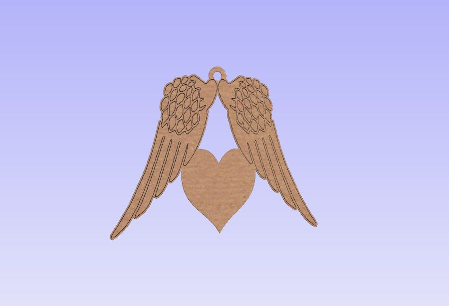 Hanging Angel Wing With Heart Bauble