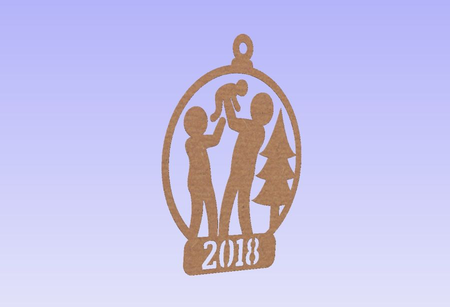 Hanging Couple With Baby 2018 Bauble
