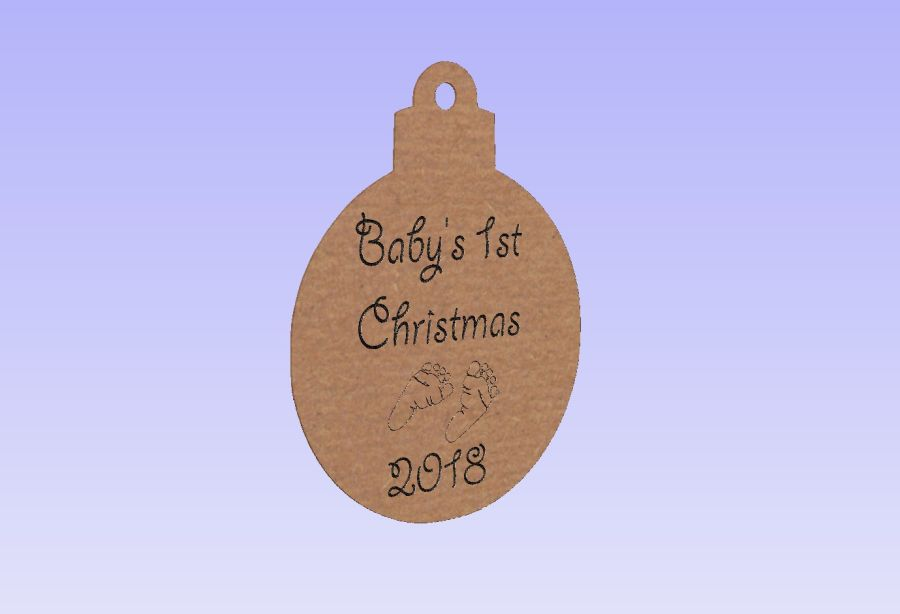 Baby's 1st Christmas 2018 Engraved Bauble