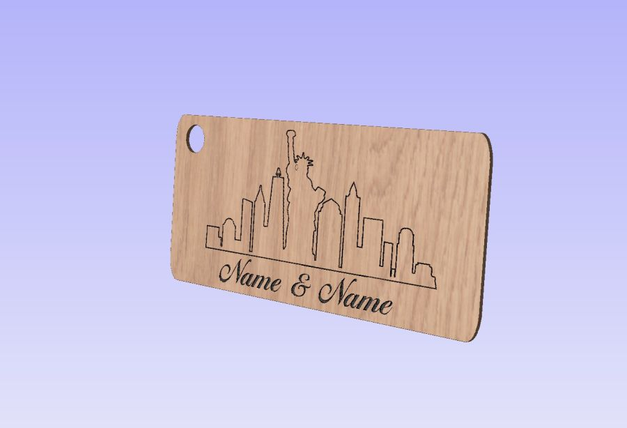 Oak Veneer Wedding Keyrings - New York Skyline