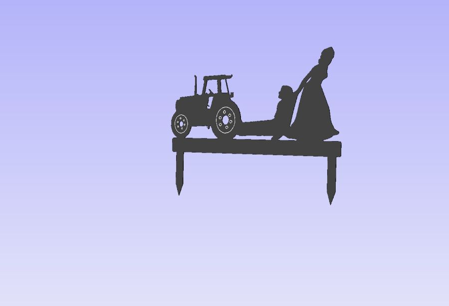 Acrylic Cake Topper - Bride Dragging Groom From Tractor