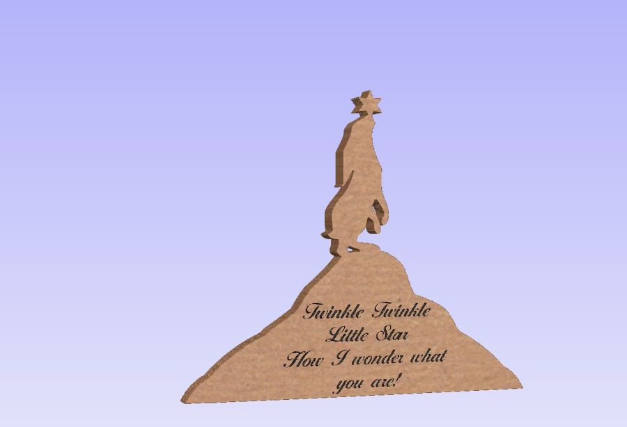 Freestanding Engraved Gazing Hare - Twinkle twinkle little star how I wonder what you are