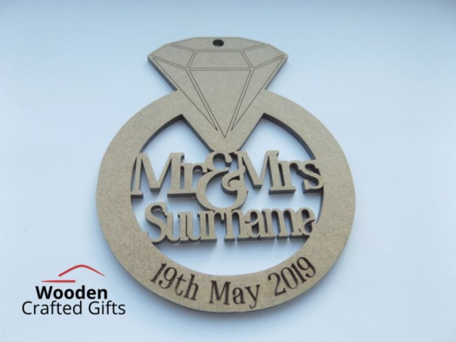 Hanging Diamond Ring - Mr & Mrs Surname With Engraved Date
