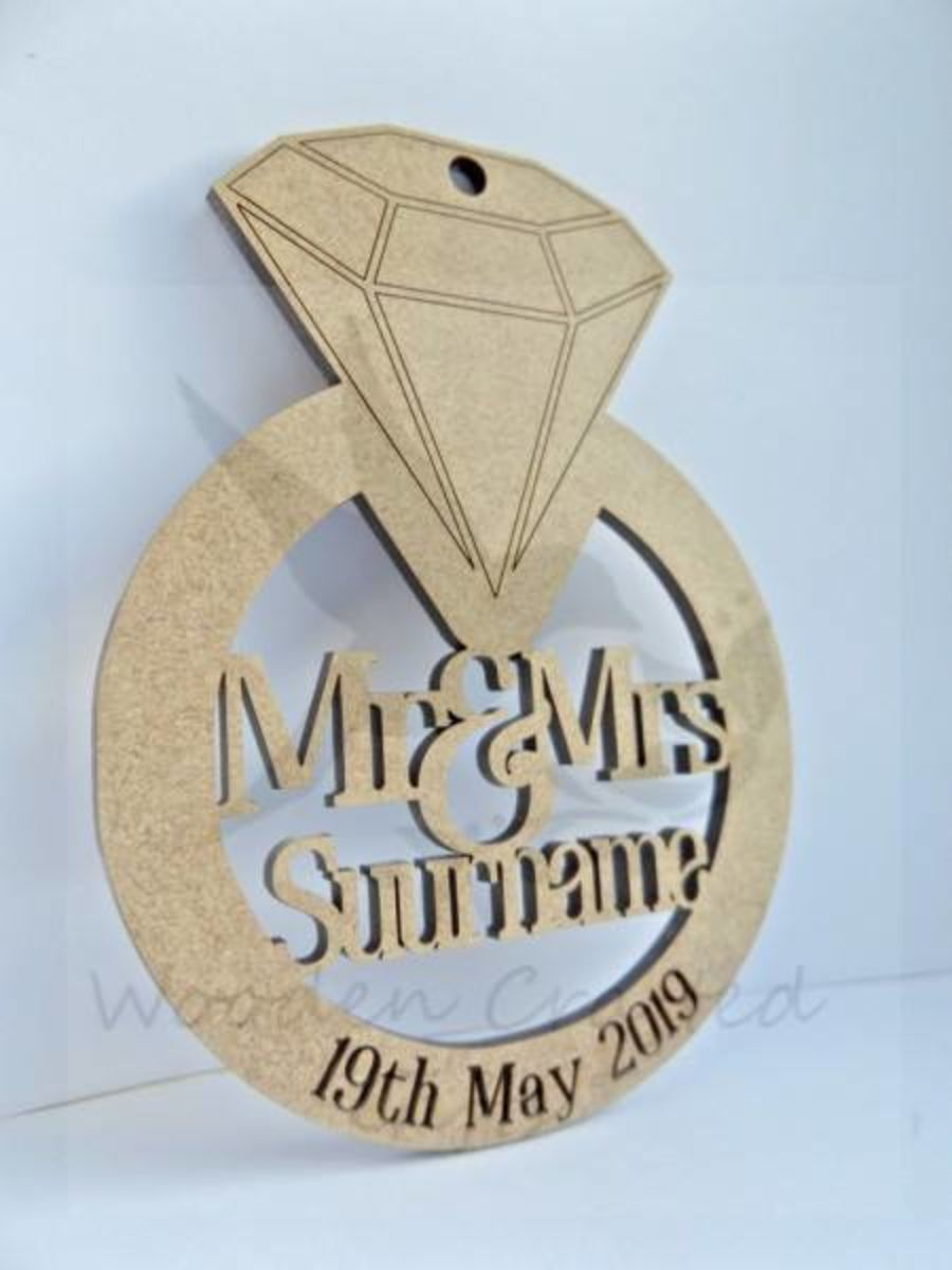 Bulk Buy - Hanging Diamond Ring - Mr & Mrs Surname With Engraved Date