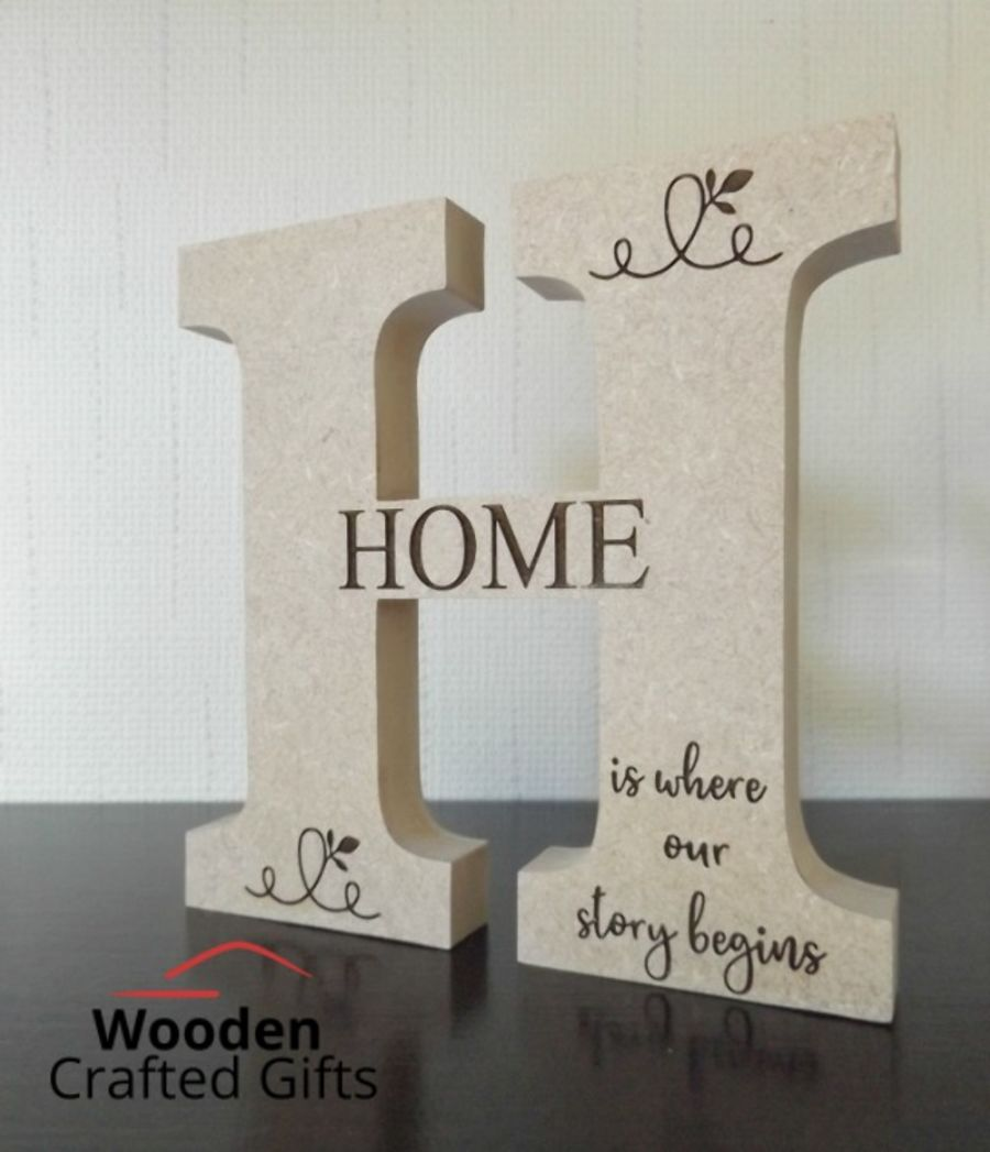 Freestanding Letter - H - Engraved - Home is were our story begins