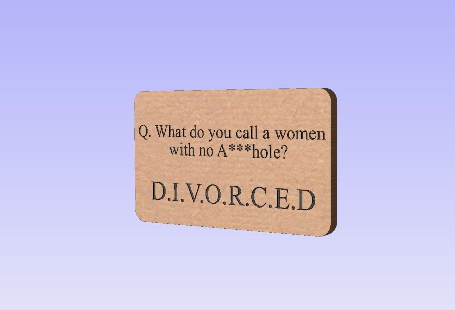 Freestanding Block - Q. What do you call a women who has no A***hole, D.I.V.O.R.C.E.D