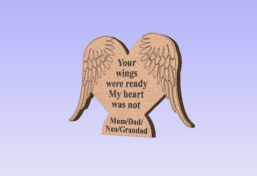 Freestanding Heart With Wings - Engraved - Your wings were ready, my heart was not.