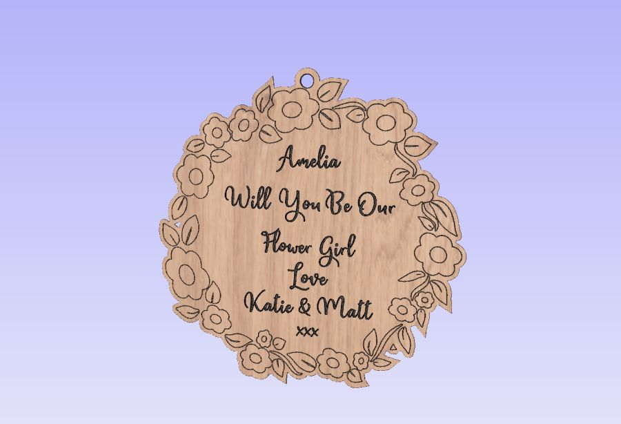 Oak Veneer - Hanging Bauble - Engraved - Name will you be our -Bridesmaid/Flower Girl