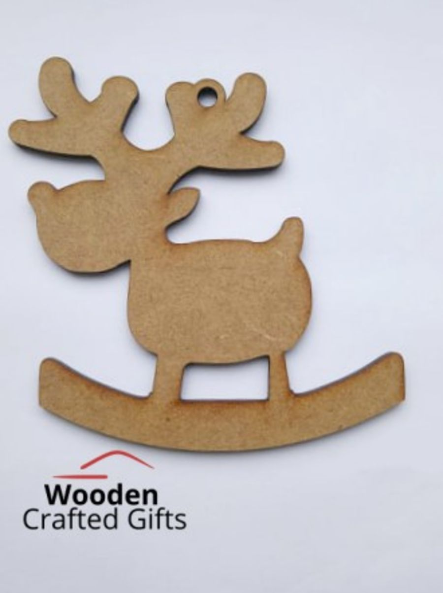 Hanging Rocking Reindeer Bauble - Plain
