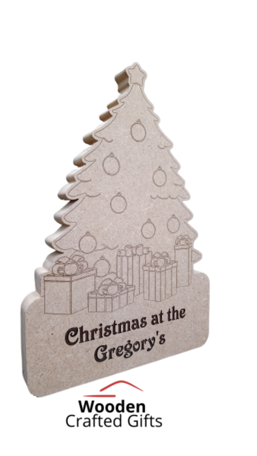 Freestanding Christmas Tree With Presents - Christmas at the surname Engraved