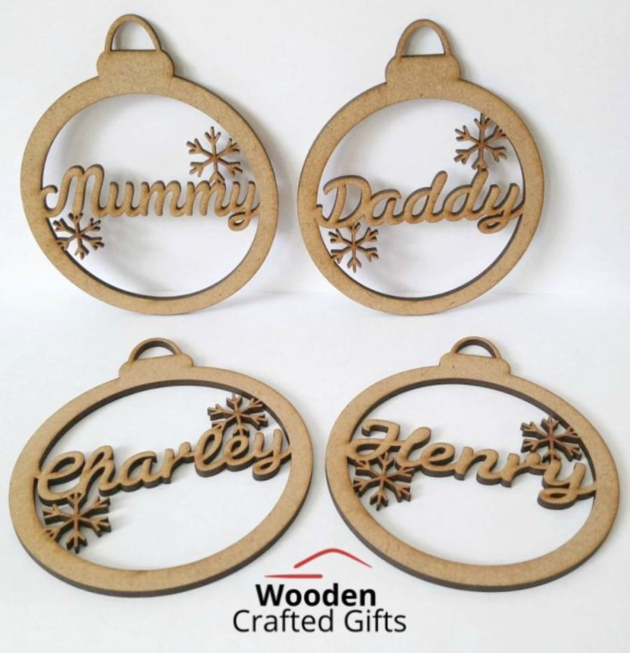Personalised Hanging Baubles with Snowflakes