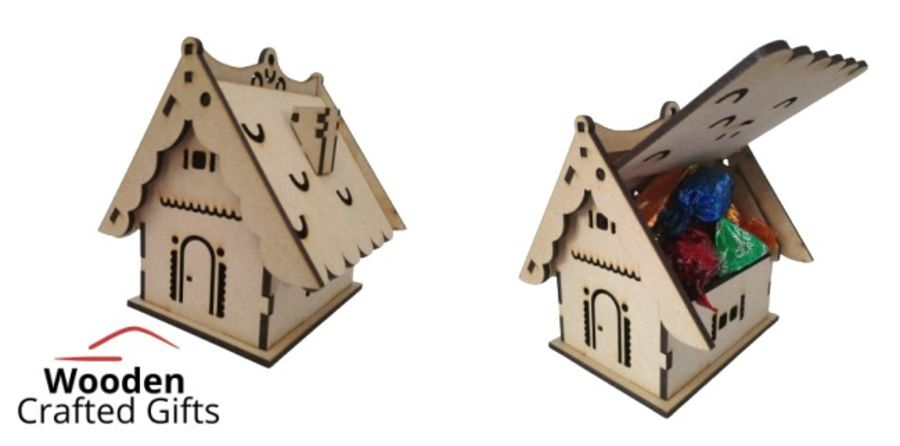 Flat Packed Simple Candy House With Chimney - Swing Roof Opening