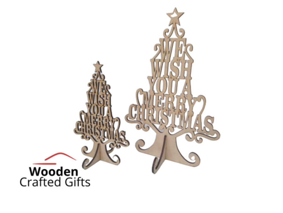 Freestanding - We wish you a merry Christmas - Tree- 2 Sizes Availble