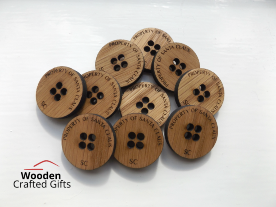 Oak Veneer - Property of Santa - Buttons