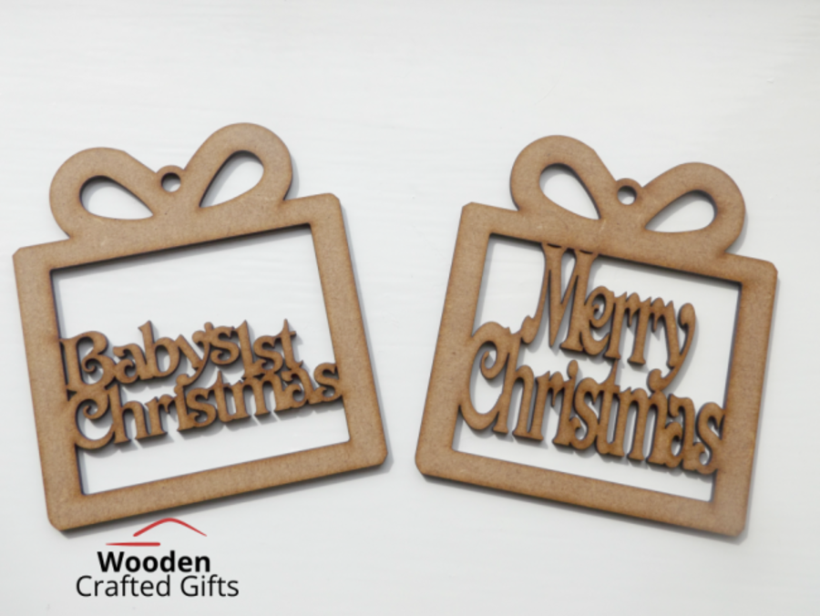 Hanging Personalised or Merry Christmas Present Shaped Baubles