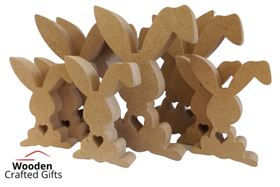 Freestanding Rabbits With Heart Cutout - Please select a size for prices