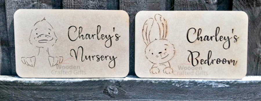 Hanging Personalised Bedroom - Nursery Plaque - Either Duck or Bunny