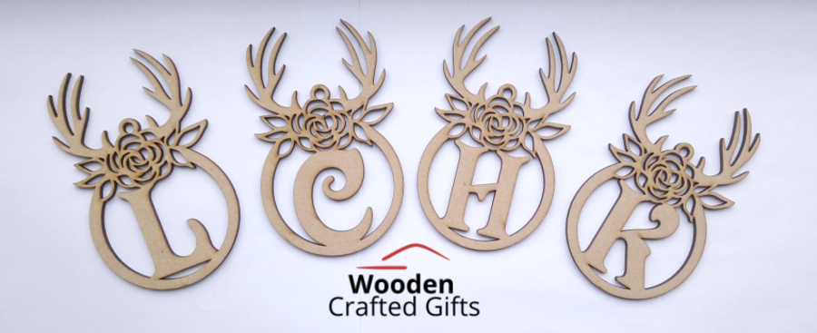 Hanging Initial Antler Flower Baubles