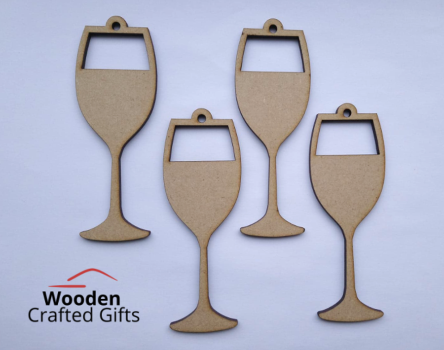 Hanging Wine Glass Bauble - Pack of 4