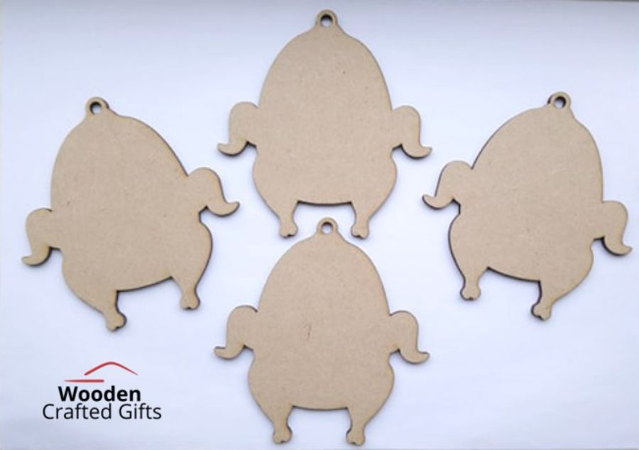 Hanging Turkey Shape Bauble - Pack of 4