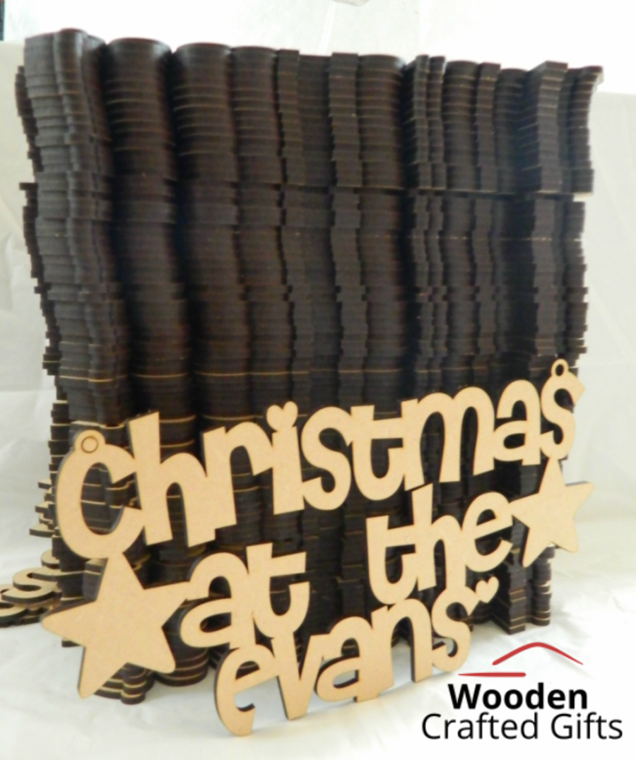 Old font - Christmas at the - Surname Plaque