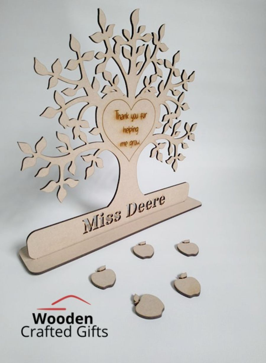 Freestanding Tree - Teachers Name Cut Out - Engraved Thank you for helping me grow + 5 Apples