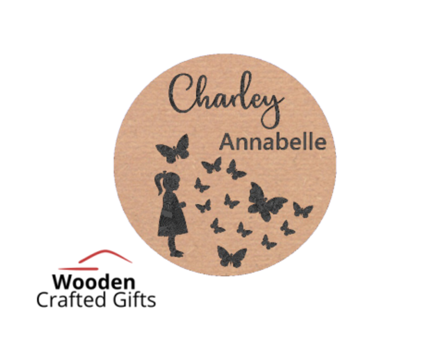 2 Layer Circle Plaques - Names + Butterflies/Girl