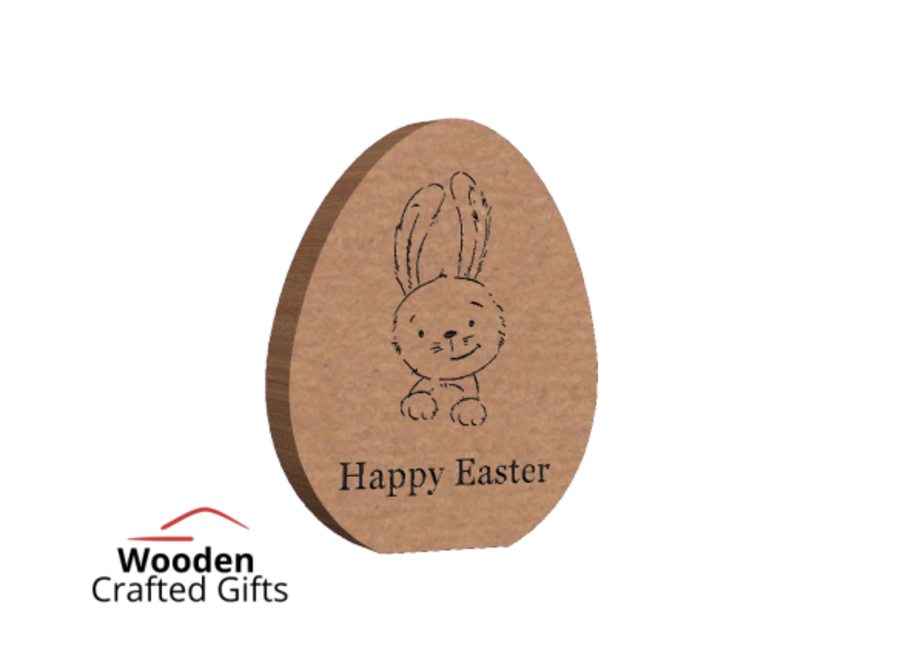 Freestanding Happy Easter With Bunny Engraved Egg