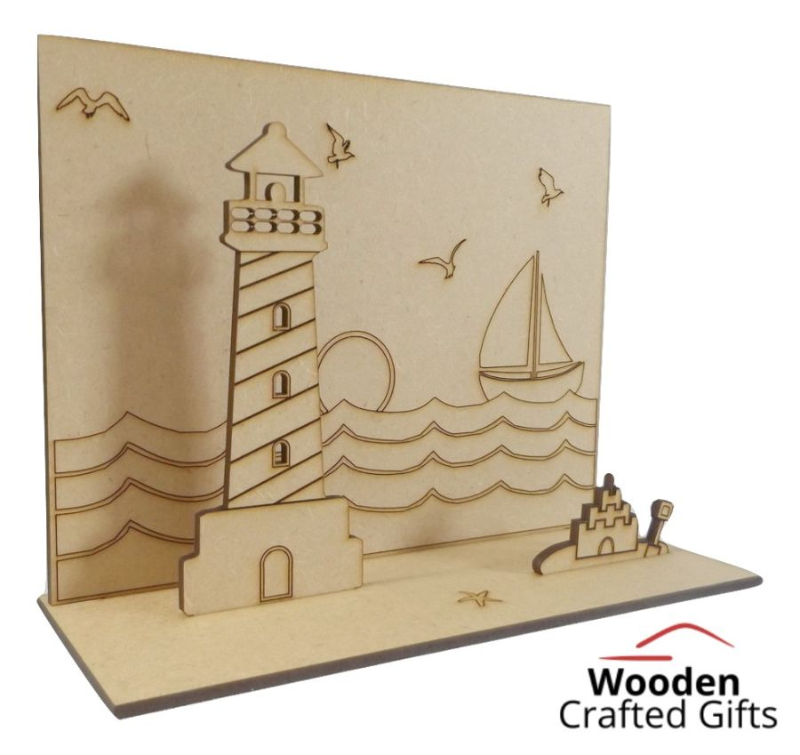 Freestanding Beach Scene With Lighthouse + Sand Castle