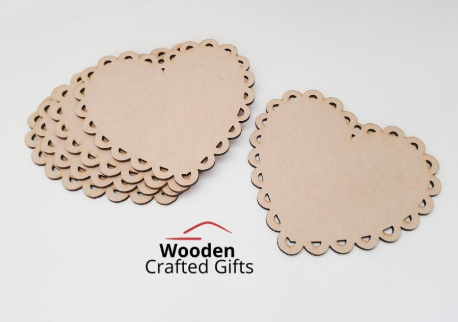 6mm Thick Scalloped Hearts - 15cm  - Individual or Packs of 5, 25 or 100