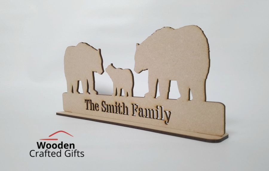 Polar Bear Family On Base With - The Surname Family - Cutout - Please select the bear quantity you require for price