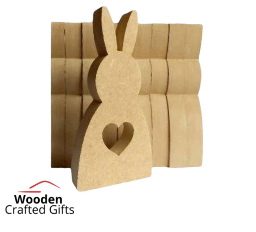 Freestanding Bunny With Heart Cut Out 12cm Tall