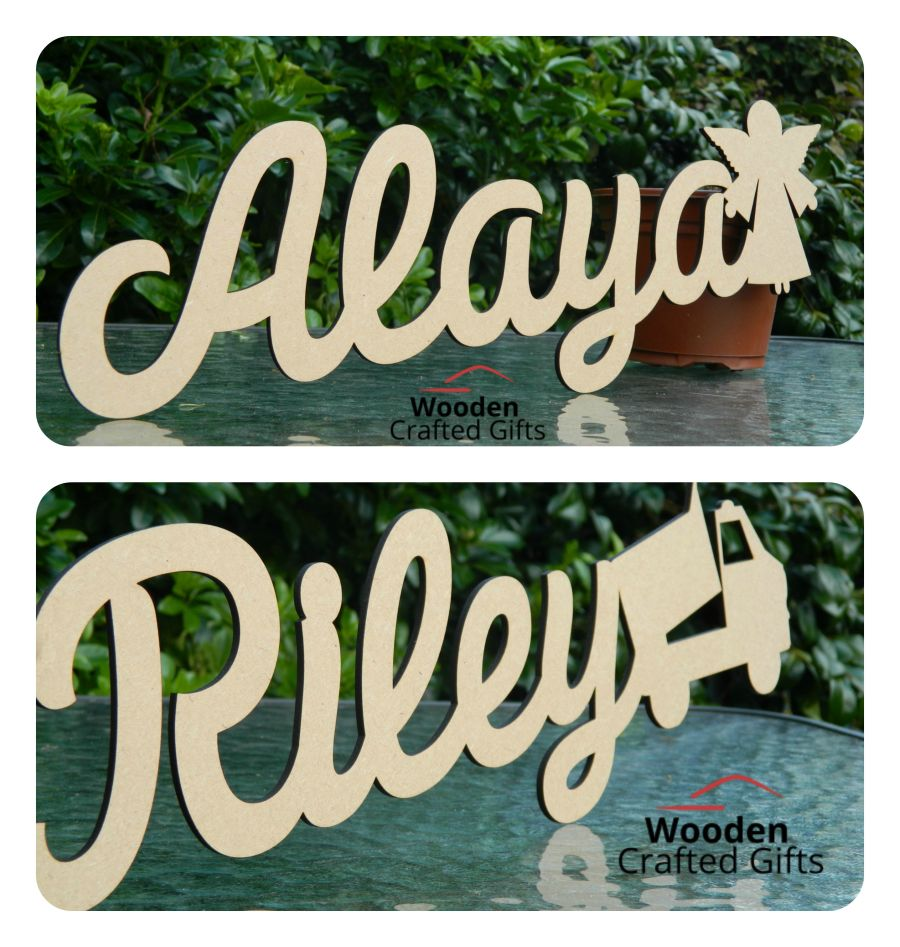 Name Plaques With Shape - 10cm Tall  - Please select the amount of letters/shapes required for price