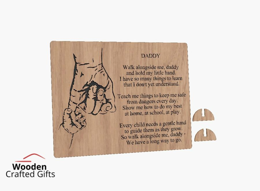 Freestanding Oak Daddy Plaque Comes With Feet