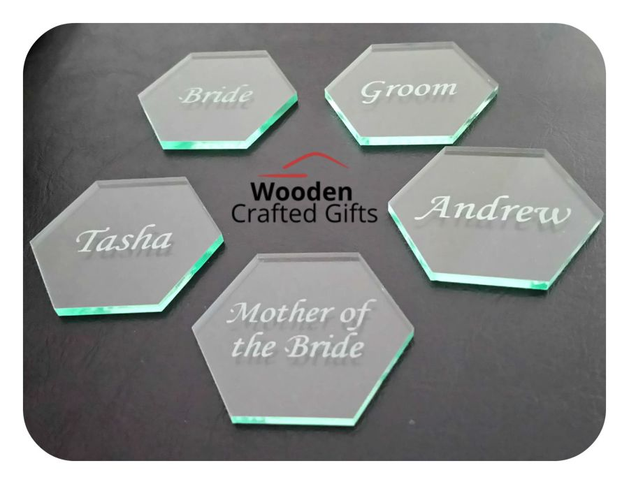 Engraved Glass Effect Acrylic Hexagons  - Minimum Order of 10