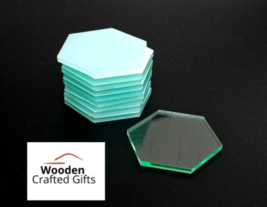 Plain Glass Effect Acrylic -  Hexagon - Please select pack size for correct price