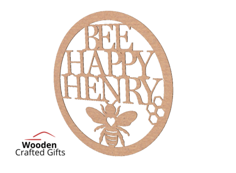 Personalised Bee Happy - Hoop  Please select the size you require for price