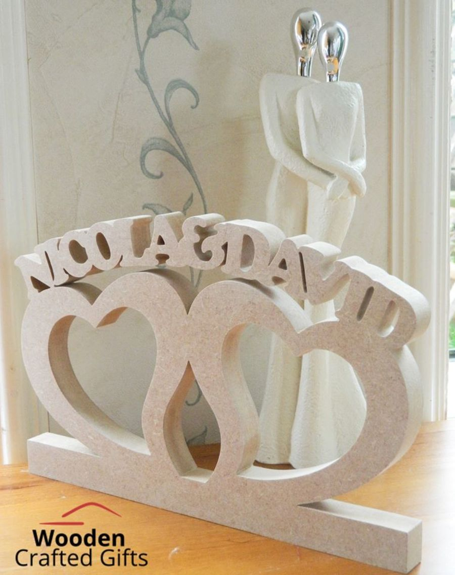 Freestanding Personalised Double Heart Plaque - Please select the required amount of letters for correct price