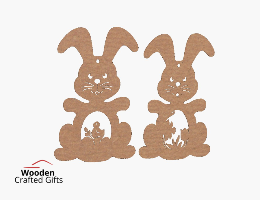 Hanging Bunny Baubles With Detailed Belly - Sold in packs of 2 -