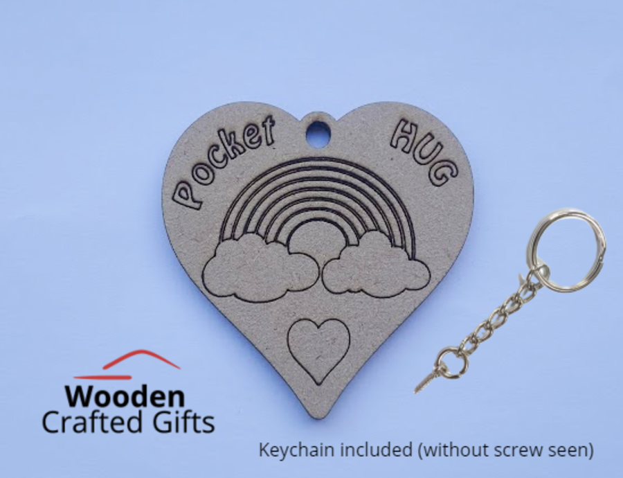 Etched Pocket Hug Keyrings - Keychains included