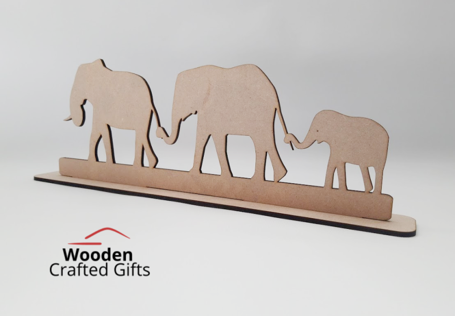 Freestanding Elephant Family Holding Tails On Base - Please select the amount of elephants you require for correct price