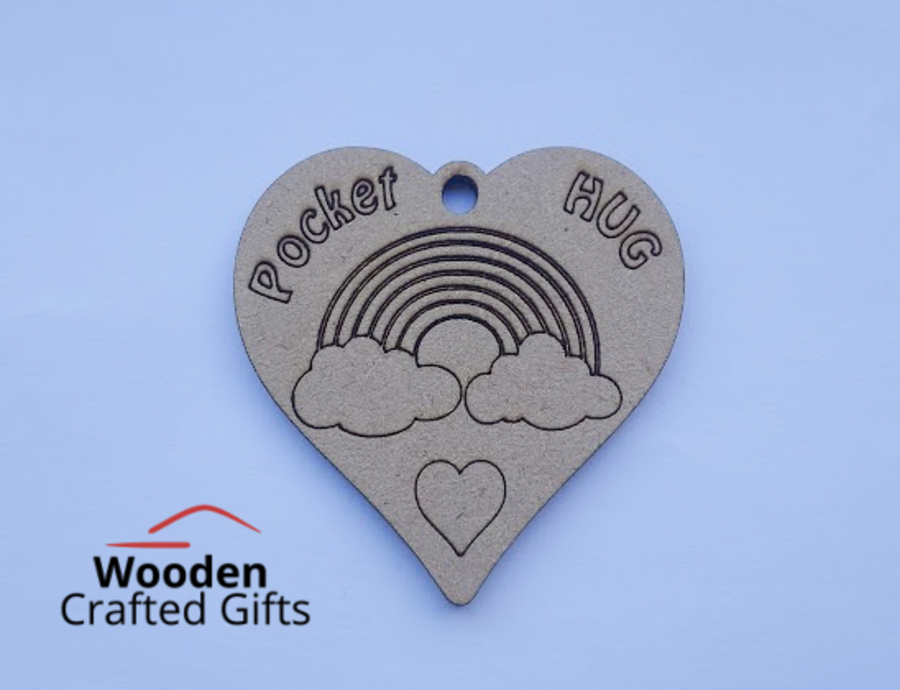 4cm Etched Pocket Hugs - No Keychains supplied