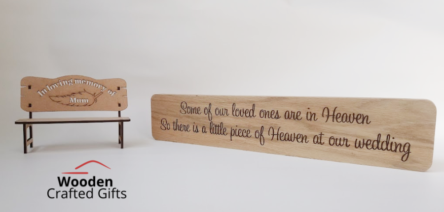 Memory Bench + Freestanding - Because someone is in heaven there is a little piece of heaven at our wedding - Bundle