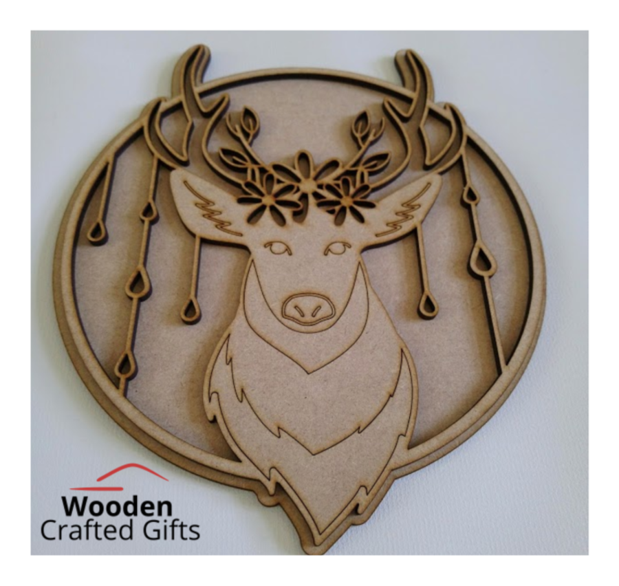 Layered Deer With Flowers Plaque