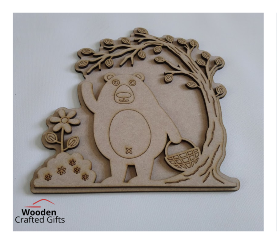 Layered Bear With Picnic Basket Plaque