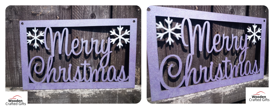 Hanging Merry Christmas With Snowflake Plaque