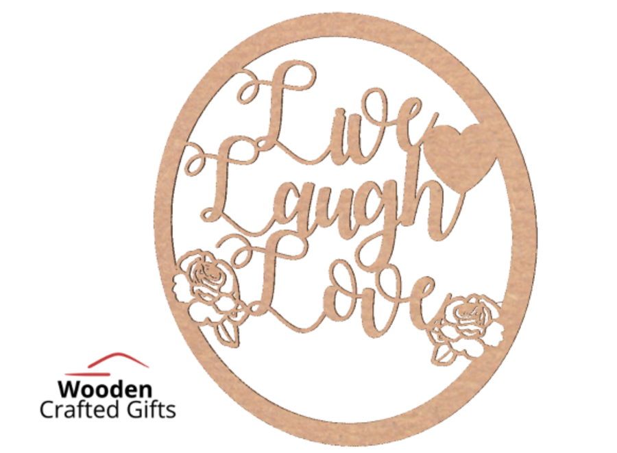 Live Laugh Love - Rose Hoop - Please select the size you require for correct price